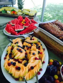 Catered brunch featuring fresh melons