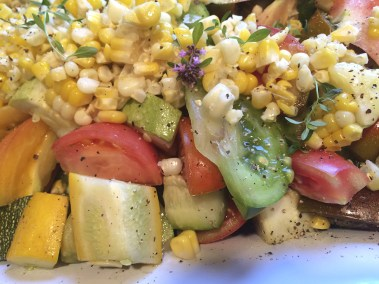 Salad of fresh corn, heirloom tomatoes and tera cheese