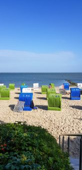 Colorful baskets on the beach