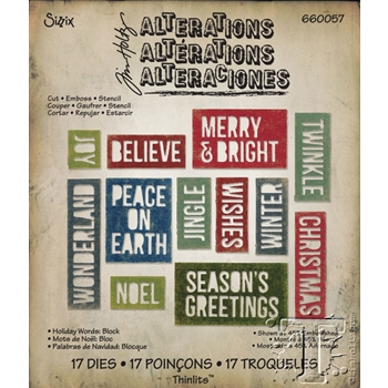 Tim Holtz Sizzix HOLIDAY WORDS: BLOCK Thinlits Die 660057