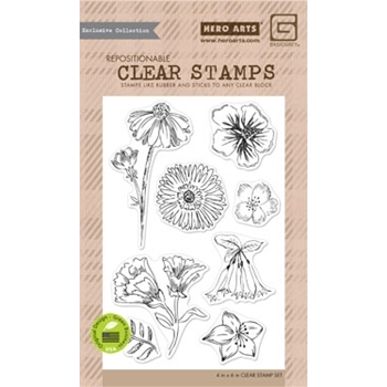 Hero Arts Clear Stamps TEA FLOWERS BasicGrey CL858
