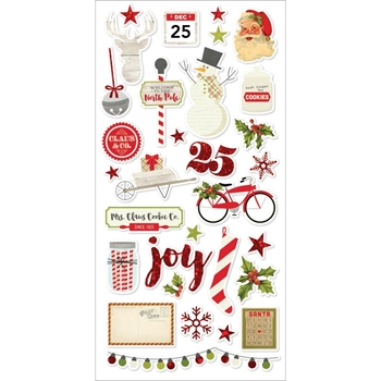 Simple Stories CLAUS AND CO 6 x 12 Chipboard Stickers 4828