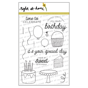 Right At Home SWEET BIRTHDAY Clear Stamp SBJULY16*
