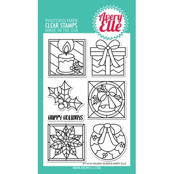 Avery Elle Clear Stamps HOLIDAY GLASS Set ST-16-33