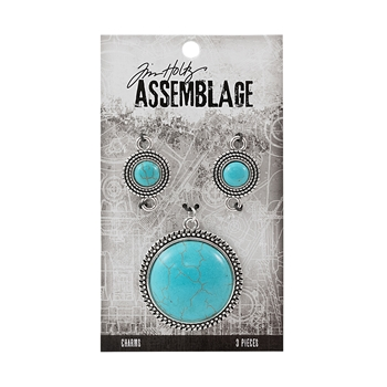 Tim Holtz Assemblage PACK OF 3 MEDALLIONS CHARMS TURQUOISE THA20049