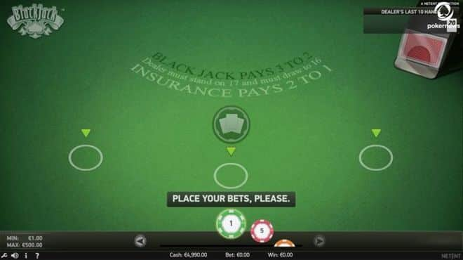 This a screencap of the Net Ent card game Blackjack Single Deck Touch for mobile devices and PC released in 2019.