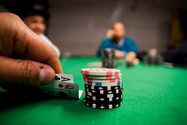 This is a picture of a stack of poker chips on a poker table during a poker game. On this page you can learn about angle shooting strategy, and a list of video with examples of how professional poker players tried to paly an angle.
