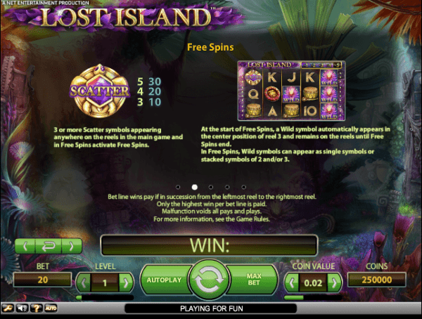 The picture shows you how to get free spins in the Lost Island slot game