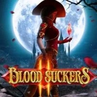 This is an image of Blood Suckers 2 slot, a free to play Netent slot from 2017. The 300x300 pixel logo depicts Amilia the lead character in the game, who is a vampire.