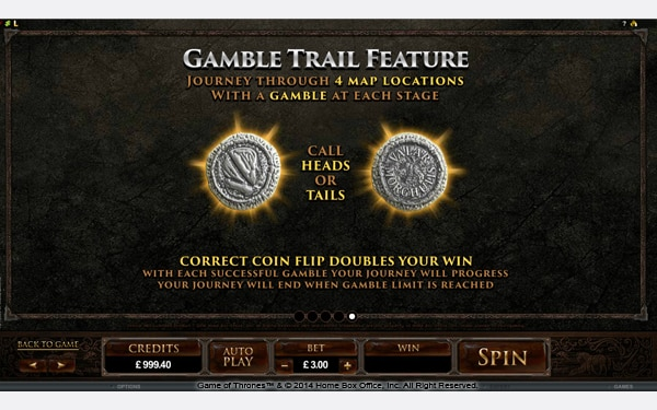 The picture shows you the Gamble Trail bonus feature in the Game of Thrones online slot game