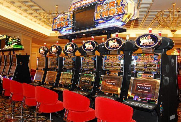 Slot machines in the Okada Manila Casino in the Philippines