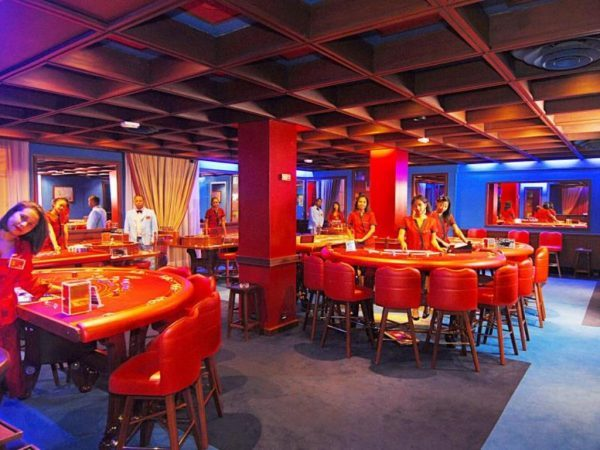 Gaming tables in the Colbert Hotel & Casino in Madagascar