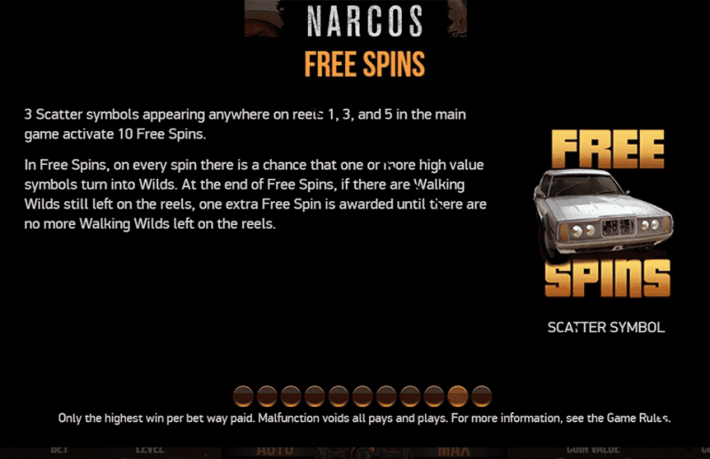 The picture is taken from the video slot Narcos, it describes the free spin feature found within this casino game.