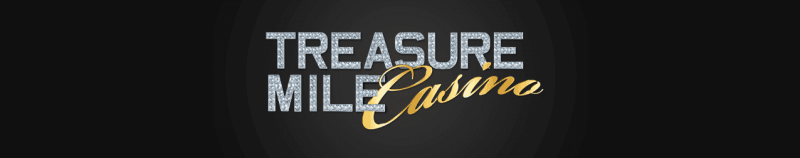 """This is the official logo of the Treasure Mile Casino. The picture consist of the words """"TREASURE MILE Casino"""" over a black background. On this page, under the picture, you can read the review of this online casino and scam exposé, exposing their dirt tricks and how they steal from players and affiliates alike."""