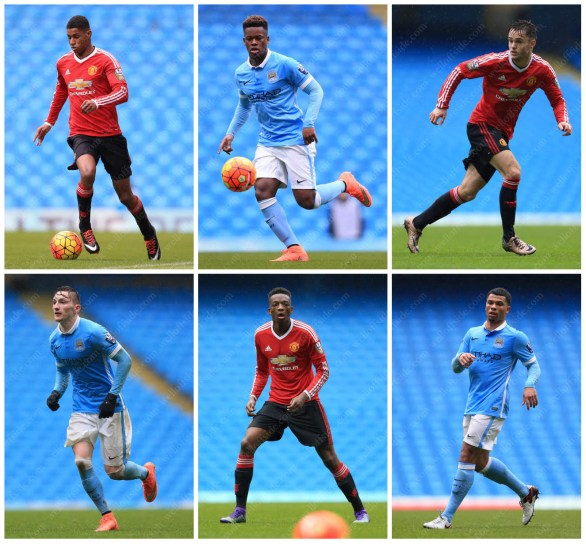 A grid of stock pictures from Man Utd's U21 match against Man City