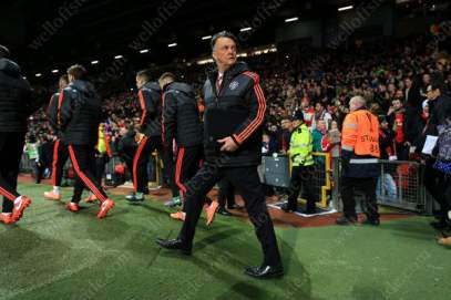 Man Utd manager Louis van Gaal walks out for his side's Europa League tie against FC Midtjylland