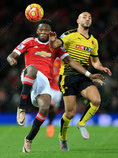 Timothy Fosu-Mensah of Man Utd clears from Nordin Amrabat of Watford