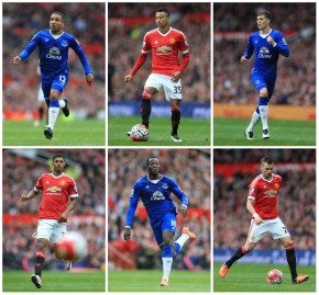 A grid of stock pictures from the game between Man Utd and Everton