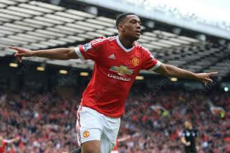 Anthony Martial celebrates after scoring for Man Utd against Everton