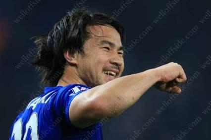 Shinji Okazaki of Leicester celebrates after scoring their 1st goal against Newcastle United