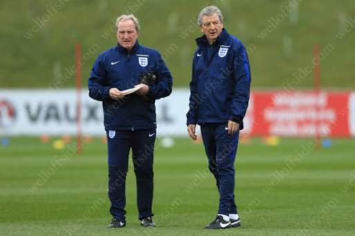England manager Roy Hodgson (R) and assistant Ray Lewington