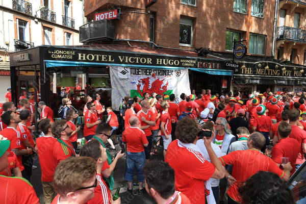 Welsh fans drinking outside The Melting Pot Pub