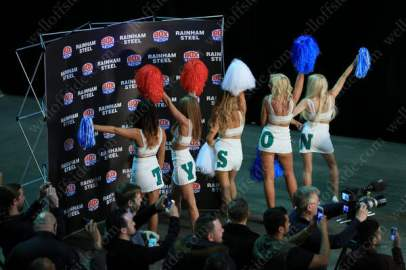 Cheerleaders show their support for boxer Tyson Fury during a press conference