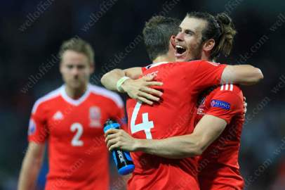 Gareth Bale celebrates victory with his Wales teammates