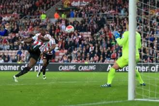 Lamine Kone of Sunderland scores their 2nd goal against Everton