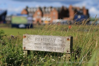 TROON, SCOTLAND - JULY 13: A sign for a pathway running alongside the 2nd fairway seen during the final practice round prior to the 145th Open Championship at Royal Troon Golf Club on 13th July 2016 in Troon, Scotland. Photo by Simon Stacpoole/SilverHub 0203 174 1069 / 07711 972644
