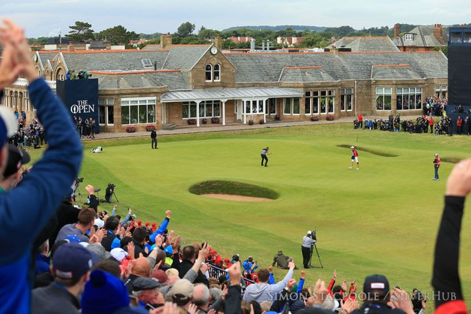 TROON, SCOTLAND - JULY 17: The crowd cheers as Henrik Stensen (SWE) holes his putt at the 18th green for victory during the 145th Open Championship at Royal Troon Golf Club on 17th July 2016 in Troon, Scotland. Photo by Simon Stacpoole/SilverHub 0203 174 1069 / 07711 972644