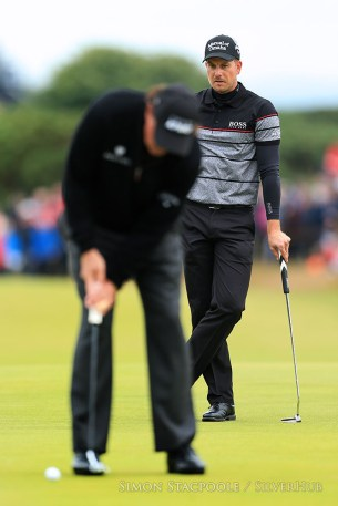 TROON, SCOTLAND - JULY 17: Henrik Stensen (SWE) watches Phil Mickelson (USA) during the 145th Open Championship at Royal Troon Golf Club on 17th July 2016 in Troon, Scotland. Photo by Simon Stacpoole/SilverHub 0203 174 1069 / 07711 972644