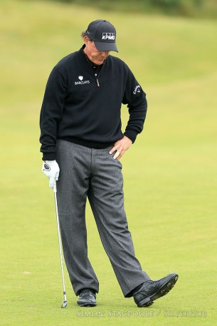 TROON, SCOTLAND - JULY 17: Phil Mickelson (USA) looks dejected during the 145th Open Championship at Royal Troon Golf Club on 17th July 2016 in Troon, Scotland. Photo by Simon Stacpoole/SilverHub 0203 174 1069 / 07711 972644
