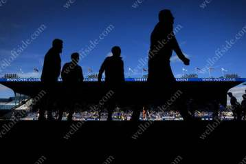 Players silhouetted against the stand at Hillsborough before Aston Villa's match away to Sheffield Wednesday