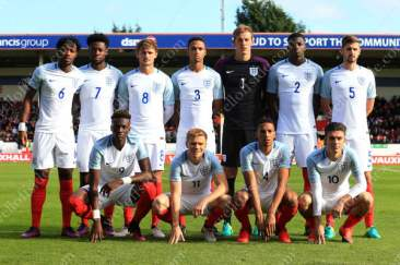 England's U21 side pose for a team group photo ahead of their UEFA EURO U21 Qualifier against Bosnia & Herzegovina in Walsall