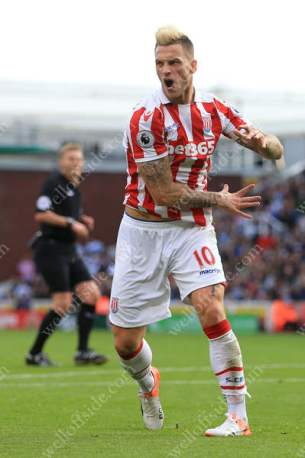 Marko Arnautovic of Stoke vents his anger