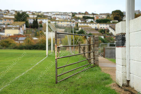 The gated entrance to the pitch at Coombe Valley