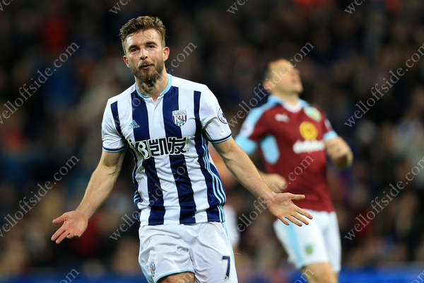 James Morrison of West Brom celebrates after scoring their 2nd goal against Burnley