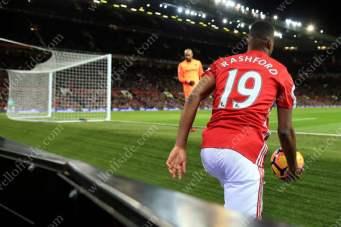 Marcus Rashford of Man Utd retrieves the ball during their Premier League match at home to West Ham United
