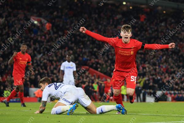 Ben Woodburn of Liverpool celebrates after scoring their 2nd goal