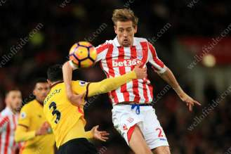Peter Crouch of Stoke tussles with Miguel Angel Britos of Watford
