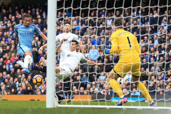 Gabriel Jesus of Man City scores their 1st goal