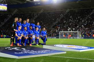Leicester players pose for a team photo ahead of their UEFA Champions League match against Sevilla