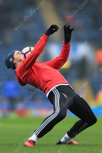 Zlatan Ibrahimovic of Man Utd controls the ball on his chest during the warm-up before their FA Cup 5th Round match against Blackburn Rovers