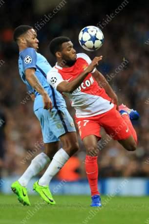 Thomas Lemar of Monaco battles with Raheem Sterling of Man City
