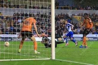 Anthony Knockaert of Brighton scores their 2nd goal against Wolverhampton Wanderers