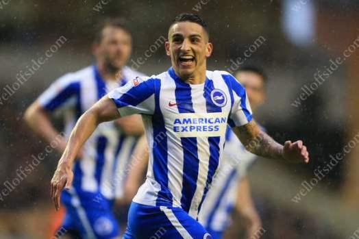 Anthony Knockaert of Brighton celebrates after scoring their 2nd goal