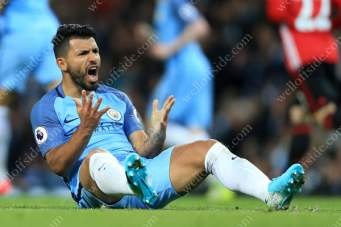 Sergio Aguero of Man City shows his dejection as his side fail to beat their local rivals