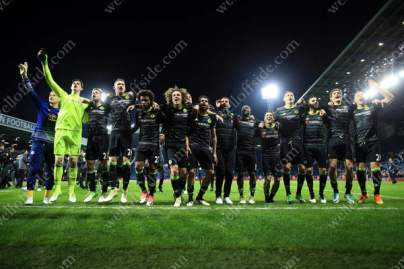 Chelsea celebrate winning the title