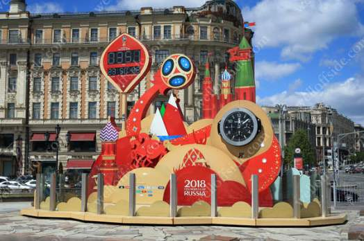 The countdown clock to the 2018 FIFA World Cup, situated close to Red Square